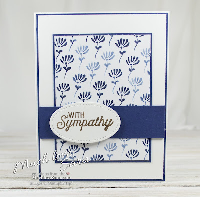 Floral Boutique Flourish Sympathy Card | Elegant Navy and White Handmade Card