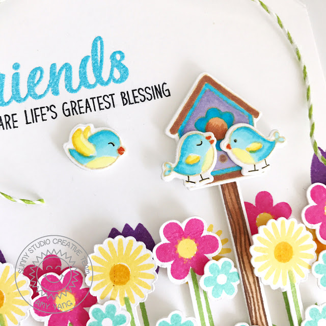 Sunny Studio Stamps: Friends & Family and A Bird's Life Friendship Card by Amy Yang