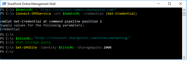 sharepoint online increase storage quota powershell