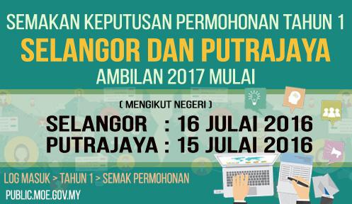 keputusan permohonan murid tahun 1 2017