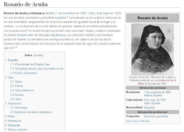 Imagen del artículo dedicado a Rosario de Acuña en la Wikipedia (captura de imagen, 25-10-2015)