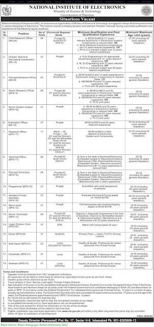 Ministry of Science and Technology Jobs 2021 - National Institute of Electronics Jobs January 2021 Download Application forms