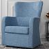 Modern Living Room Linen Fabric Swivel Arm chair (Light Grey)