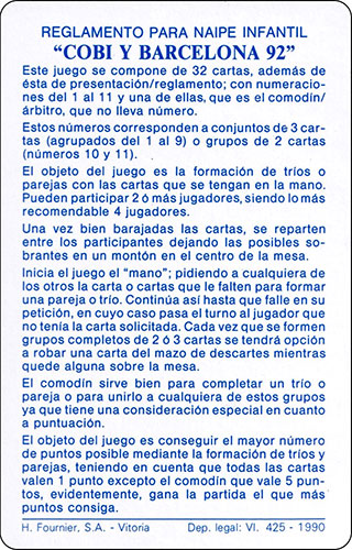 Baraja Cobi Heraclio Fournier Carta Reglamento 2