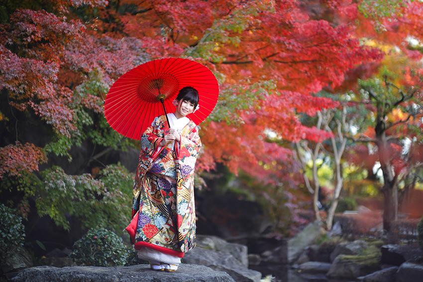色打掛で紅葉撮影。番傘がアクセントに。