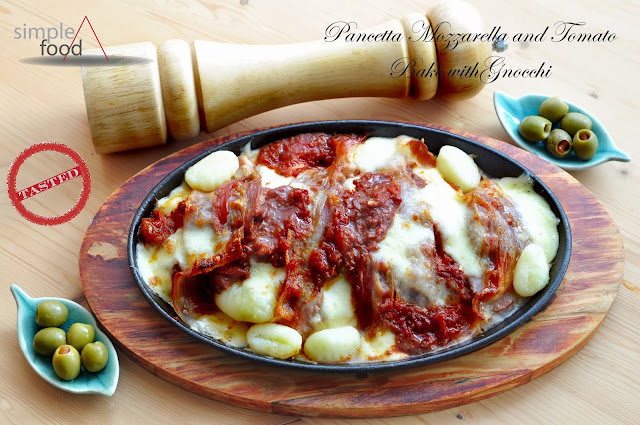 Pancetta Mozzarella and Tomato Bake with Gnocchi ~ Simple Food