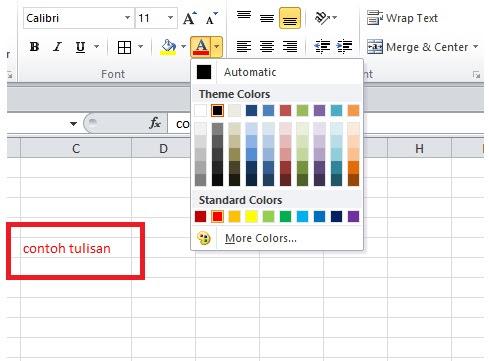 cara merubah warna font di excel