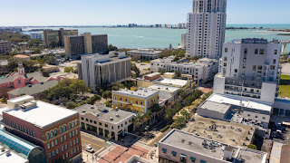 An aerial view of downtown Clearwater, which was a major topic at Monday's City Council workshop. Council member Mark Bunker said the city should ask the FBI to investigate Scientology in relation to recent downtown real estate purchases tied to the church. His council colleagues disagreed. [LUIS SANTANA | Times]
