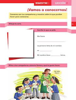 Apoyo Primaria Español 1er grado lección 2 ¡Vamos a conocernos!
