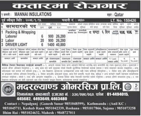 Jobs For Nepali In Qatar,  Salary -Rs.40,880/
