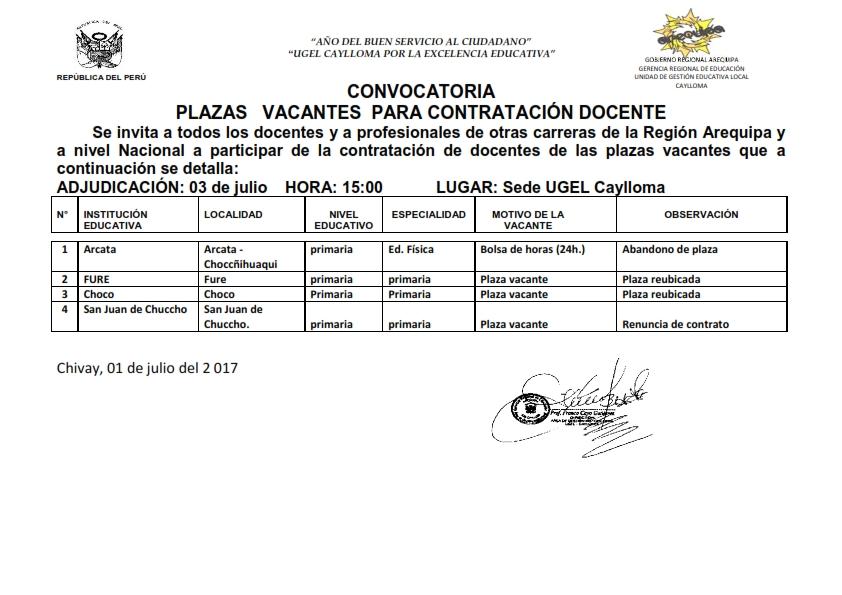 Convocatoria de plaza vacante docentes ugel caylloma Convocatoria para las plazas docentes 2016