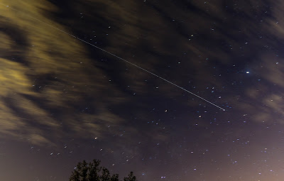 International Space Station pass;  05:46 Feb 25, 2018, Superimposition of 3 30 sec exposures
