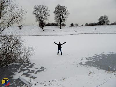 Sobre un lago congelado en Copenhague
