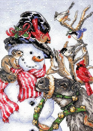 Winter Welcome Snowman Counted Cross Stitch