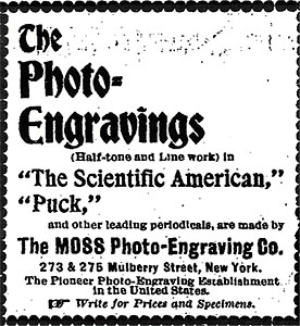 Advertisement by the Moss Photo-Engraving Company. Moss left this company and established the Moss Engraving Company in 1880 with himself as sole owner. Courtesy of the Library of Congress.