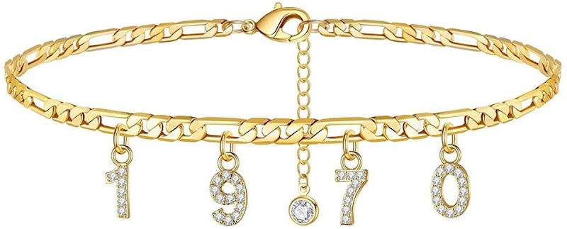 70% OFF Year of Birth Women's Personalized Crystal Anklets Bracelet-Adjustable for 1970s 1980s 1990s 2000s 2010s Gift