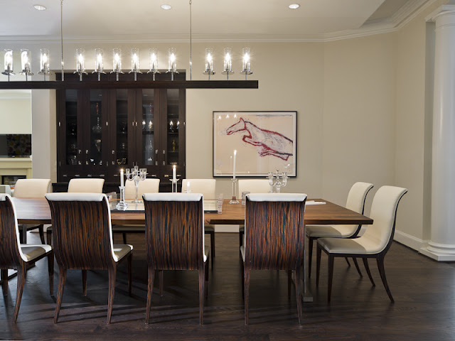 Photo of black furniture in the dinning room