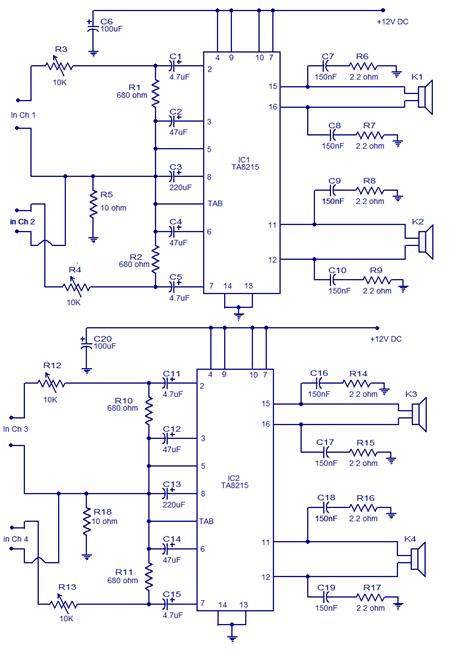 4X15W car amplifier circuit Power Amplifier
