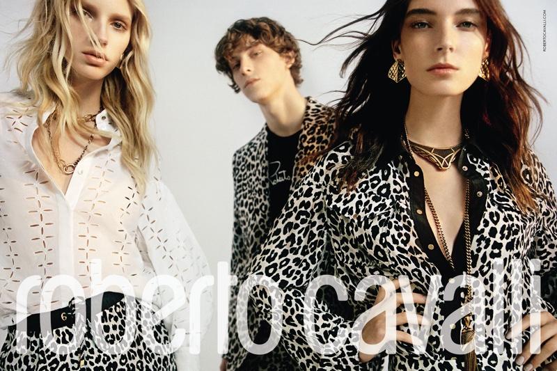 Ansley & Jessie Model Bold Prints in Roberto Cavalli Spring 2020 Campaign