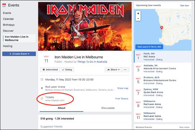 صفحة الأحداث المزيفة على Facebook مع رابط موزع التذاكر