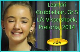Leandri Grobbelaar Gr.5 by L/s Vissershoek, Pretoria kry 3de plek met die aanbieding van haar redenaarstoespraak!