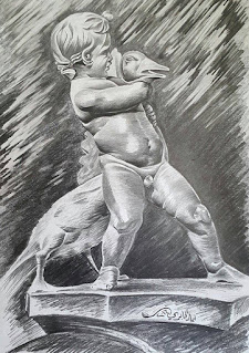 رسم تمثال بالفحم