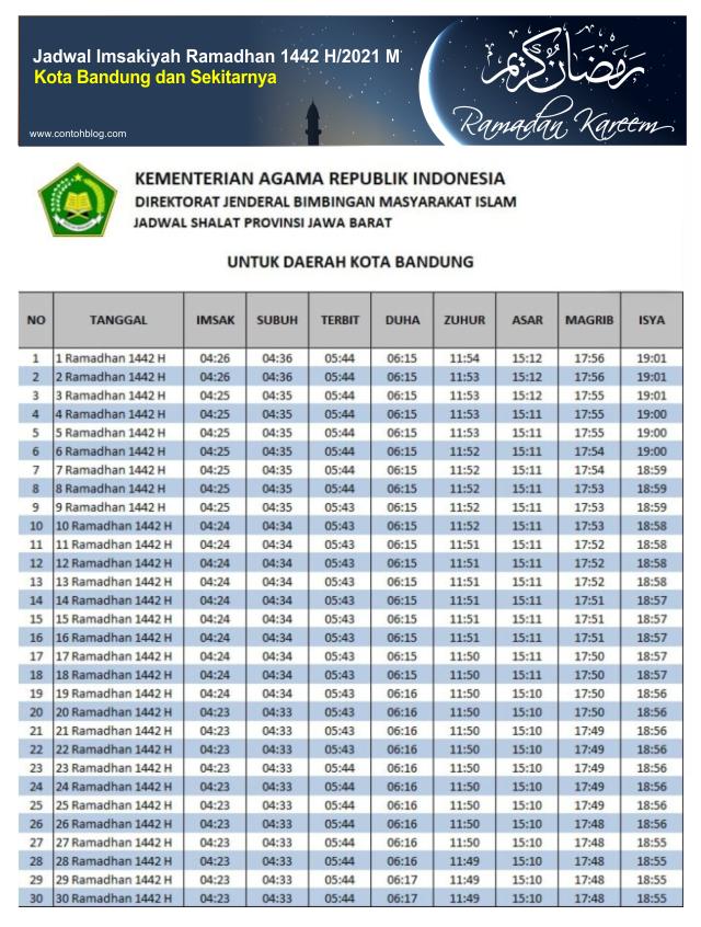 Jadwal Imsakiyah Ramadhan 1442 H / 2021 M Kota Bandung
