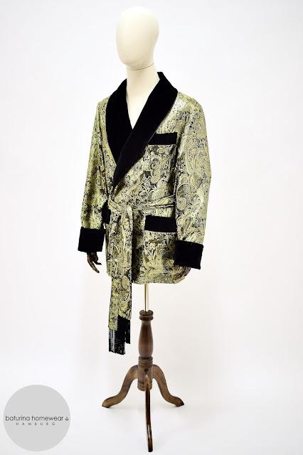 mens silk brocade smoking jacket robe gold black dressing gown housecoat british vintage style