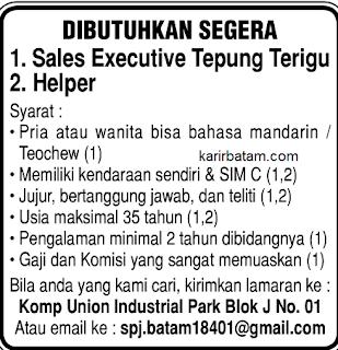 Lowongan Kerja Sales executive Union Industrial Batam