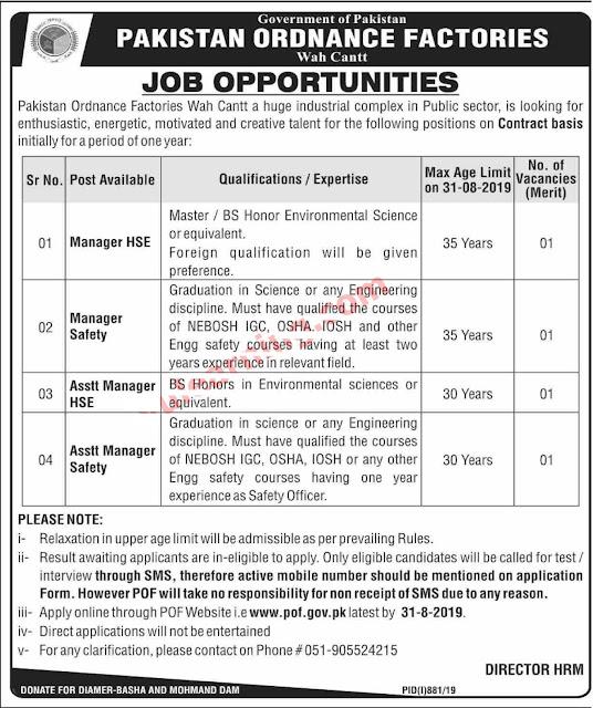 Pakistan Ordnance Factories (POF) Wah Cantt Jobs August 2019  Latest POF Advertisement