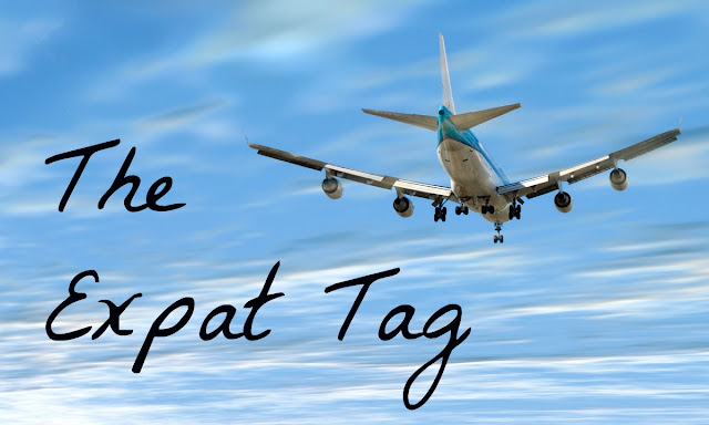 The Expat Tag text with airplane in the sky background