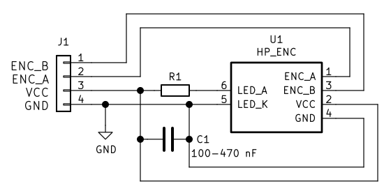 Optical encoder PCB schematic