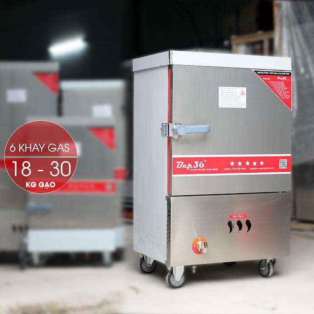 Tủ nấu cơm 6 khay gas mới nhất 2018