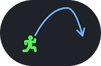 A line drawing showing a human character jumping with a parabolic trajectory.