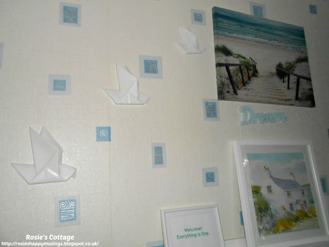 Origami birds in flight... The perfect addition to our bedroom wall decor.