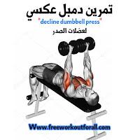 تمرين ضغط عضلات الصدر بالدمبل decline dumbbell press