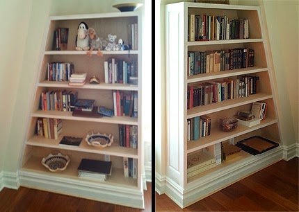 Built in angled bookcases, Westchester, NY