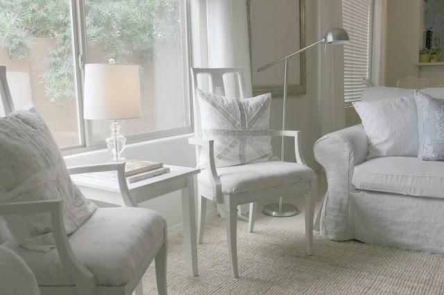 Serene neutral living and dining room decor DIY makeover on Hello Lovely Studio