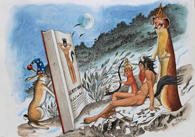 Dessins mythologie, Illustration, faune, conte, mise en abyme, rotring artpen, sketch uf
