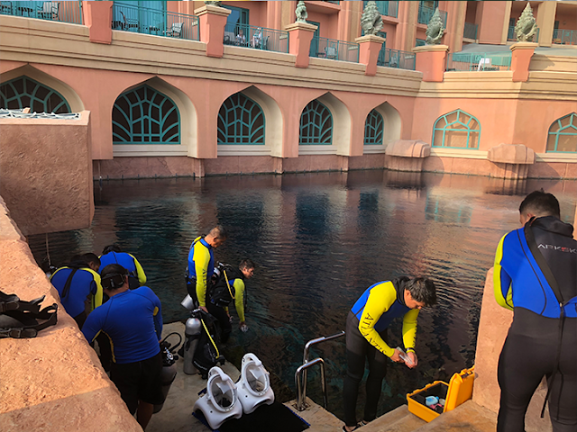 Sea TREK guides testing diving helmet equipment