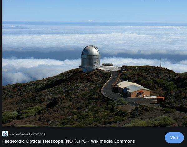 Nordic Optical Telescope (NOT) Source: Wikimedia Commons)
