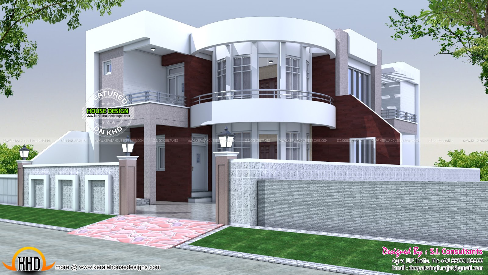 40x75 cute modern house plan kerala home design and for Modern style homes