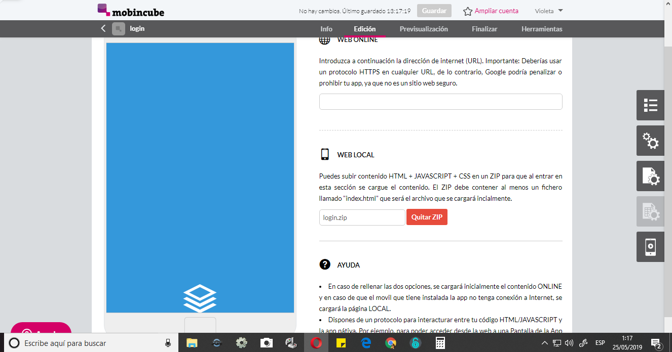 Subir el Login a la Pantalla de la Aplicación en Mobincube
