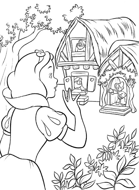 caricatura para colorear blanca Nieves casita enanitos