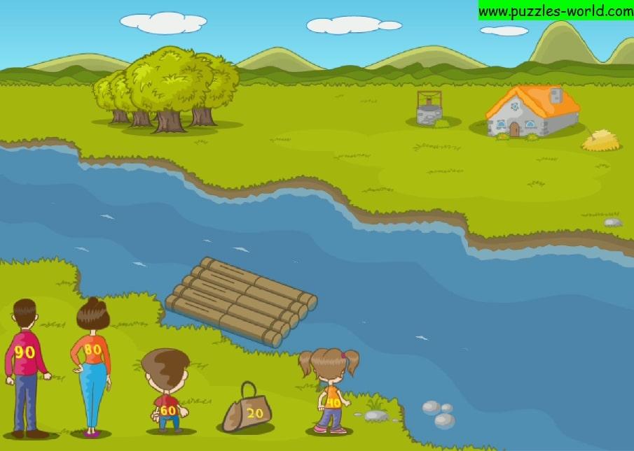 River Crossing Puzzle - Raft limit 100 kg puzzle