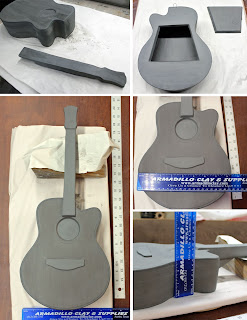 Clay build of custom guitar urn
