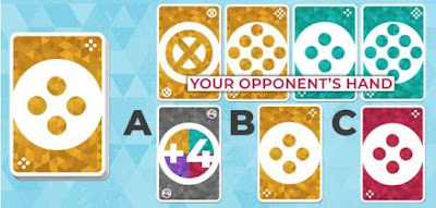 Again, you can see your opponent's hand, but they cannot see yours. It's your turn. Which card is the safest to play for a quick win?