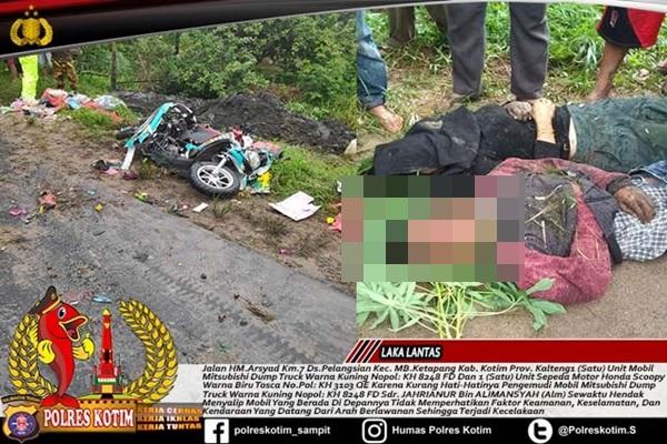 Sopir Nekat Menyalip..!! Dua Orang Tewas Ditindih Dum Truck di Lintas Bagendang-Sampit