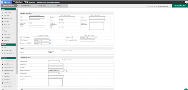 Joget Form Builder in admin view