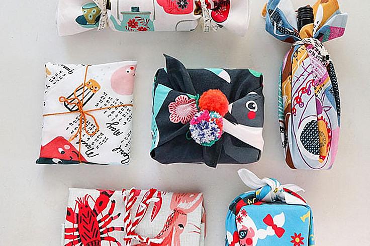 Furoshiki Tea Towl Gift Wrap
